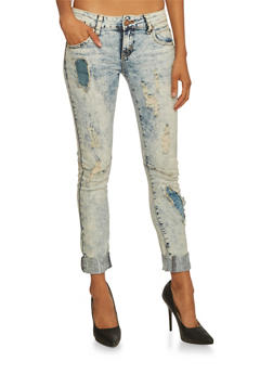VIP Ripped Skinny Jeans with Beach Wash - 3074065308176