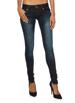 VIP Skinny Jeans with Double Buttons - DARK WASH - 3074065308208