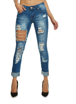 VIP Destroyed Skinny Jeans with Pearl Accent - 3074065308882