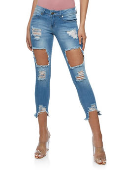 VIP Cropped Open Hole Skinny Jeans - 3074065308897