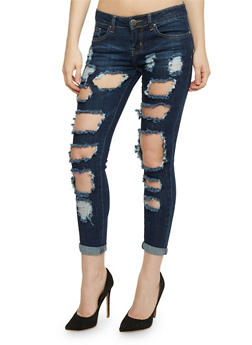 VIP Destroyed Roll Cuff Skinny Jeans - 3074065308918