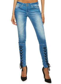 VIP Whisker Wash Skinny Jeans with Corset Detail - 3074065308969