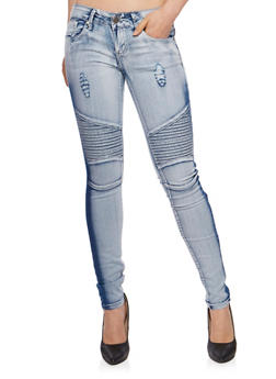 VIP Distressed Light Wash Moto Jeans - 3074065308983