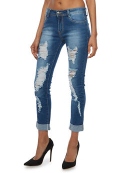 Ripped Roll Cuff Skinny Jeans - 3074067542051