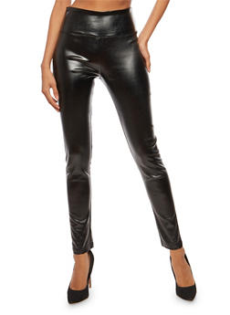 Metallic Faux Leather High Waisted Pants - 3074068193026