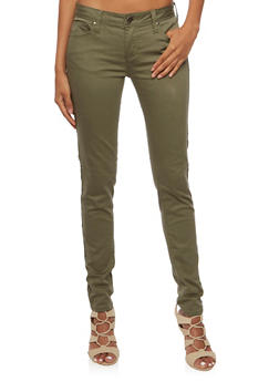 Colored Skinny Jeans - OLIVE - 3074069394613