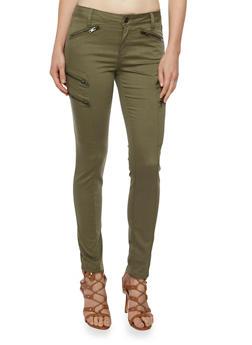 Stretch Jeans with Zip Cargo Pockets - 3074069395951