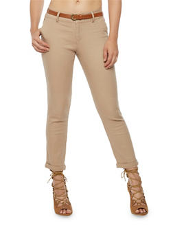 Skinny Twill Pants with Faux Leather Belt - 3074069396631