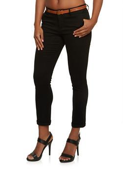Belted Welt Pocket Pants with Rolled Hems - 3074069396661