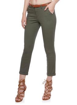Belted Welt Pocket Pants with Rolled Hems - OLIVE - 3074069396661
