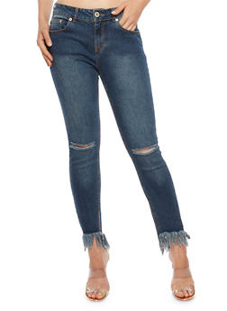 Highway Skinny Jeans with Frayed Hem - 3074071319096
