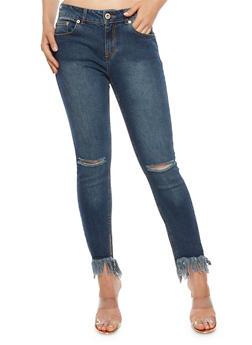 Highway Skinny Jeans with Frayed Hem - 3074071319096