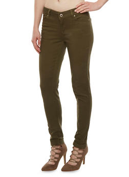 WAX Colored Skinny Jeans with Rolled Cuffs - 3074071610045