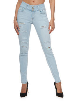 WAX Slashed Whisker Wash Skinny Jeans - 3074071610067