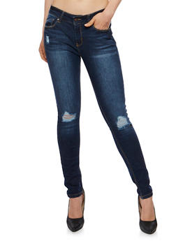 WAX Distressed Knee Skinny Jeans - 3074071610072