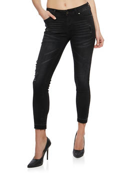 Wax Distressed Skinny Jeans with Raw Cut Hem - 3074071610949