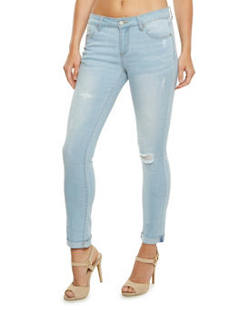 WAX Jeans Distressed Skinny Jeans with Rolled Cuffs - 3074071611200