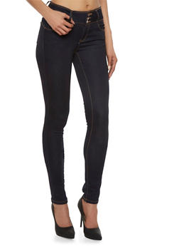 Wax Skinny Jeans with Three Buttons - 3074071613400