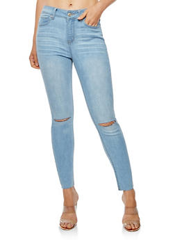 WAX Cropped Slit Knee Jeans - 3074071619003
