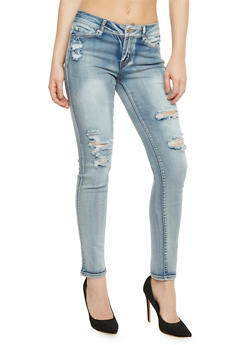 WAX Distressed Light Wash Skinny Jeans - 3074071619004