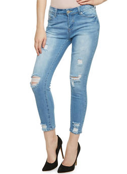 WAX Distressed Cropped Skinny Jeans - 3074071619006
