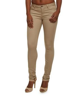 WAX Jean Five Pocket Skinny Pants - KHAKI - 3074071619010