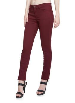 WAX Jean Five Pocket Skinny Pants - BURGUNDY - 3074071619010