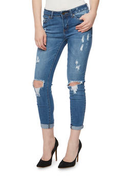 WAX Distressed Rolled Cuff Skinny Jeans - 3074071619018