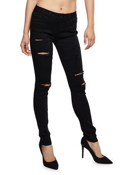 WAX Distressed Light Wash Skinny Jeans - 3074071619020