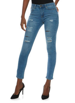 WAX Distressed Whisker Wash Skinny Jeans - 3074071619027