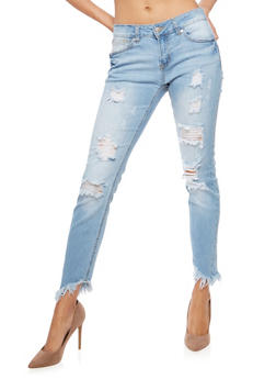 WAX Asymmetrical Frayed Hem Push Up Jeans - 3074071619088