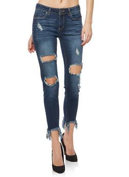 WAX Ripped Frayed Hem Push Up Jeans - 3074071619089