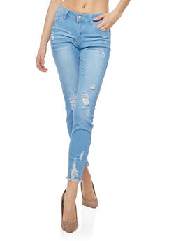 WAX Destroyed Frayed Hem Push Up Jeans - 3074071619090