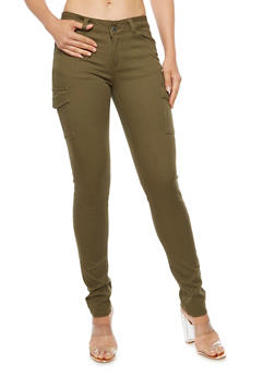 Cargo Twill Skinny Pants - OLIVE - 3074071619101