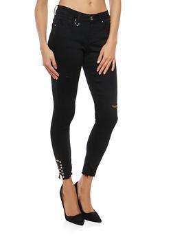 WAX Metal Ring Detail Skinny Jeans - 3074071619114