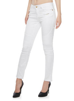 Moto Skinny Jeans with Ribbed Panels - WHITE - 3074072290317