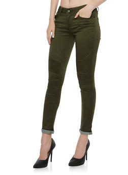 Moto Skinny Jeans with Ribbed Panels - OLIVE - 3074072290317