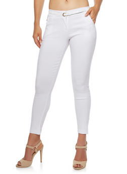 Welt Pocket Skinny Pants with Belt - WHITE - 3074072291165