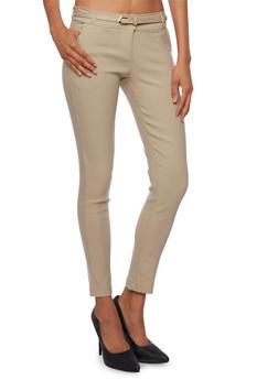 Welt Pocket Skinny Pants with Belt - KHAKI - 3074072291165