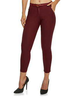 Welt Pocket Skinny Pants with Belt - 3074072291165