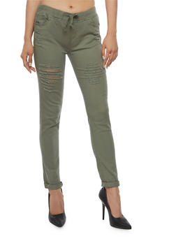 Ripped Skinny Pants - OLIVE - 3074072292345