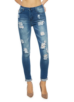 Faded Destroyed Skinny Jeans - 3074072292364