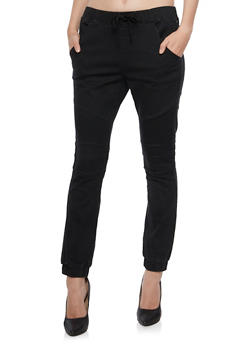 Moto Joggers with Drawstring Waist - 3074072293048
