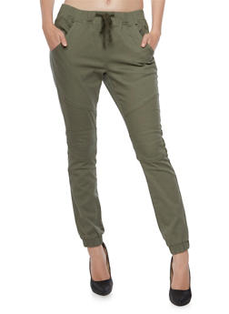 Moto Joggers with Drawstring Waist - OLIVE - 3074072293048