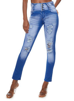 4 Button Frayed Push Up Jeans - 3074072293630