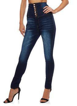 High Waisted 7 Button Denim Jeans - 3074072293861