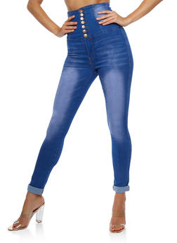 High Waisted 7 Button Denim Jeans - 3074072293861