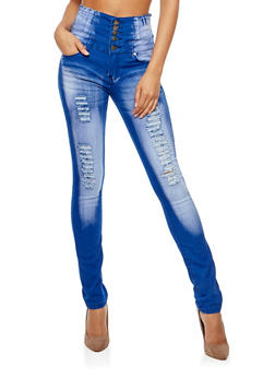 High Waisted Faded Skinny Jeans - 3074072293871