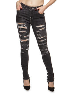 Destroyed Raw Cut Hem Skinny Jeans - 3074074250838