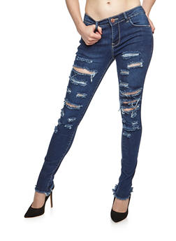 Destroyed Raw Cut Hem Skinny Jeans - 3074074250838